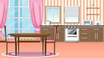 Kitchen and dining room interior design with furniture vector