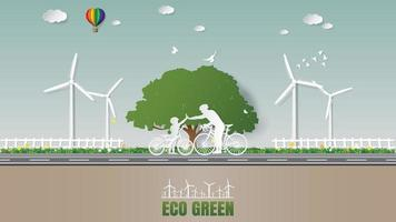 Green enery concepts Father son join hands while cycling in park vector