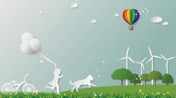 Girl and dog are running holding balloons in meadow Paper art style vector