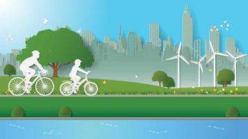 Green energy concepts father son ride bicycle in parks Paper art style vector