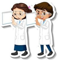 Cartoon character sticker with couple scientists in science gown vector