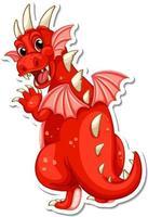 Red Dragon cartoon character sticker vector