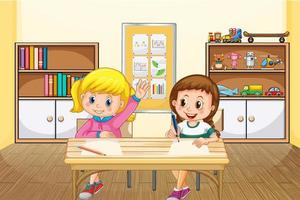 Scene with two girls studying in the classroom vector