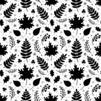 Seamless pattern of black leaves and berries vector