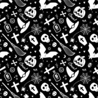 Halloween spooky items isolated on black background forming pattern vector