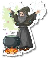 Old wizard brewing potion pot cartoon character sticker vector
