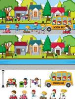 Park scene set with many kids doodle cartoon character isolated vector