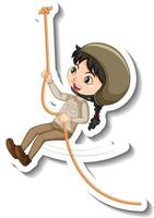 Girl in safari outfit hanging on rope cartoon character sticker vector