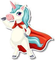 lindas pegatinas de unicornio con un superhéroe unicornio vector