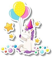 Cute unicorn sitting pose and holding balloons on white background vector