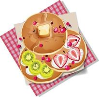 Pancake with kiwi and strawberry toppings isolated on white background vector