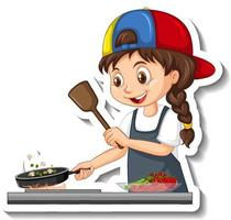 Cartoon character sticker with chef girl cooking vector