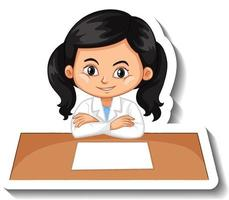 Cartoon character sticker with a girl in science gown vector