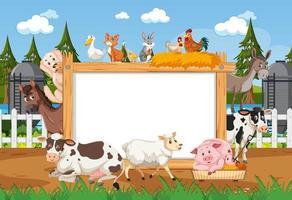 Marco de madera vacío con varios animales salvajes en la granja. vector