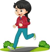 Girl doing running exercise cartoon character isolated vector