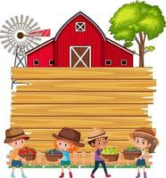 Empty wooden board with farmer kids and barn vector