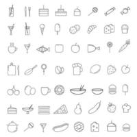 Icons of food, products and dishes of different countries of the world vector