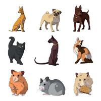 Breed of realistic pets cats, dogs and hamsters - Vector