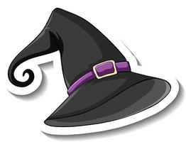 Black witch hat cartoon sticker on white background vector