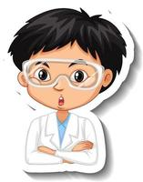 Portrait of a boy in science gown cartoon character sticker vector