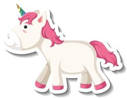 Cute unicorn standing pose on white background vector