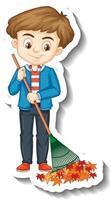 A boy holding broom cartoon character sticker vector