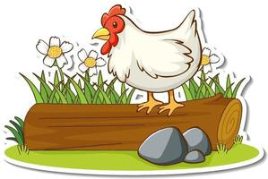Chicken standing on log with nature element sticker vector