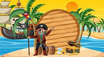 Empty banner template with pirate captain at the beach sunset scene vector