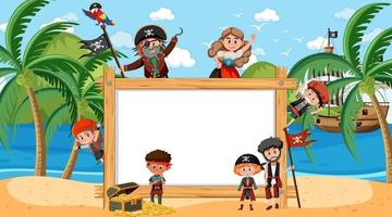 Empty wooden frame with many pirate kids at the beach vector