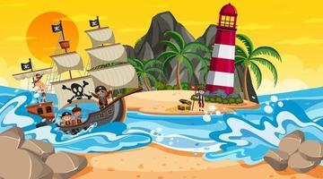 playa al atardecer escena con niños piratas en el barco vector