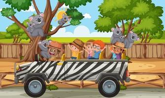 Safari scene with kids on tourist car watching koala group vector