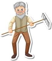 Sticker template with a gardener old man holds rake gardening tool vector