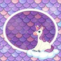 Oval frame template on purple fish scales background with unicorn vector