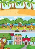 Different scenes with doodle kids cartoon character vector