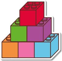 Sticker design with Colorrful toy blocks isolated vector