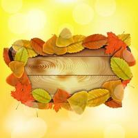 Wooden board with autumn colorful leaves vector