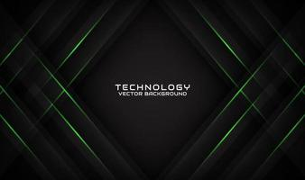 Abstract 3d black technology background with geometric green lines vector