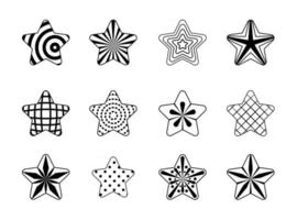 Vector star set, black star collection, stars in line art