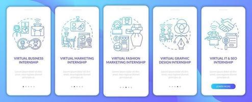 Top distant internship areas onboarding mobile app page screen vector