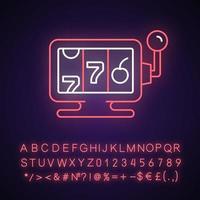 Online casino neon light icon vector