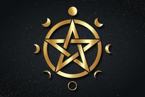 Gold Pentacle circle symbol and Phases of the moon. Wiccan symbol vector
