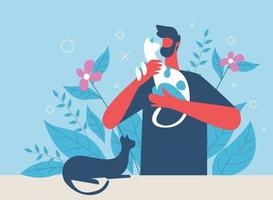 Pet lover vector illustration concept, a man taking care pets in home