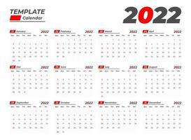 2022 basic calendar template vector