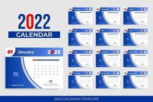 Blue header 2022 calendar vector