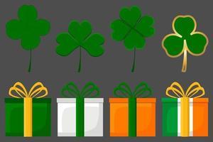 Irish holiday St Patrick day, big set gift boxes with ribbon vector