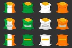 Irish holiday St Patrick day, big set color bags of coins vector