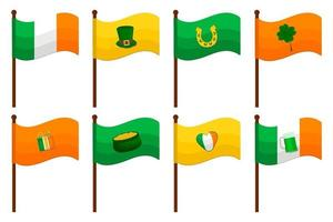 Irish holiday St Patrick day, big set from flags on stick vector
