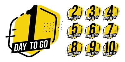 Countdown sign timer counter badges for event coming vector