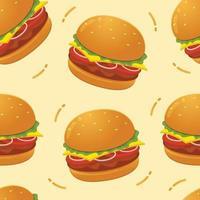 Burger seamless pattern background vector illustration