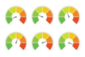 Speedometer indicator level for rating of different quality level vector